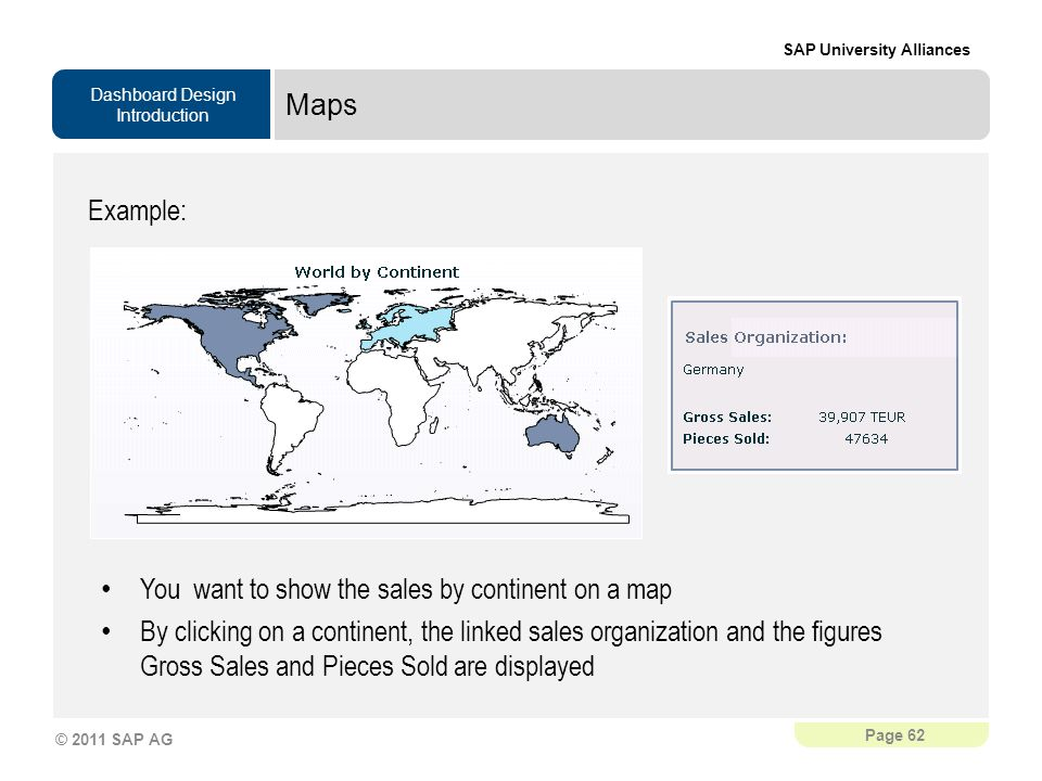Maps Example: You want to show the sales by continent on a map.