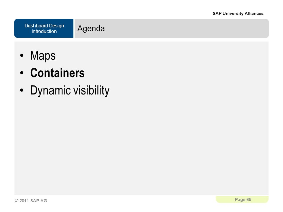 Agenda Maps Containers Dynamic visibility