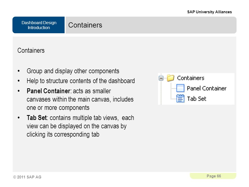 Containers Containers. Group and display other components. Help to structure contents of the dashboard.