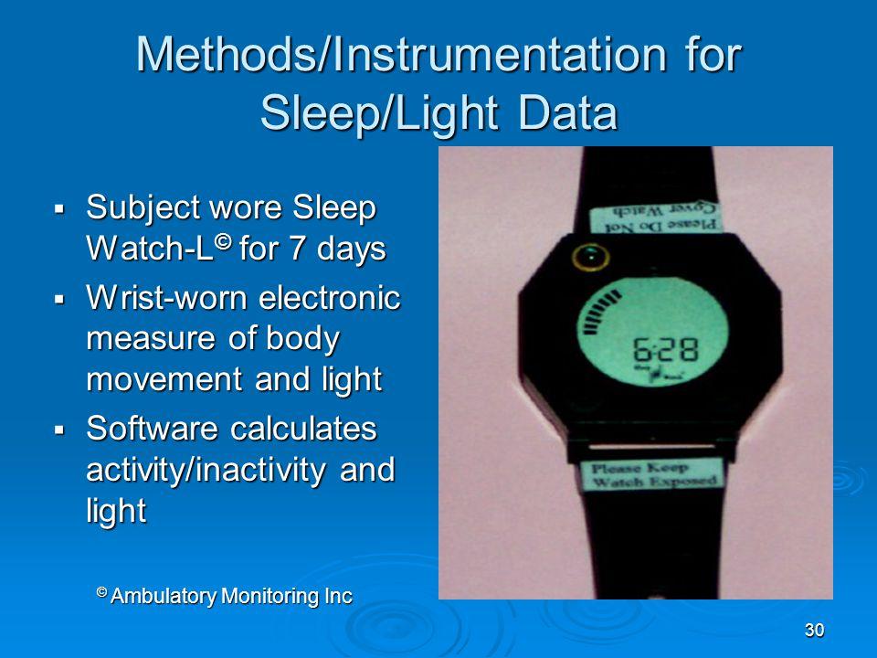 Methods/Instrumentation for Sleep/Light Data