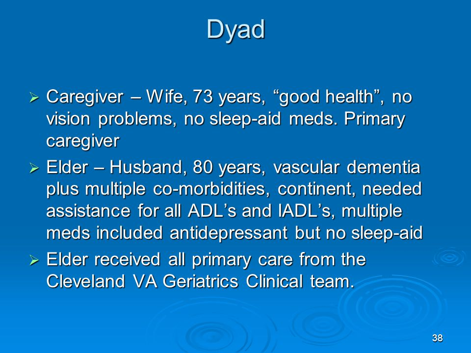 Dyad Caregiver – Wife, 73 years, good health , no vision problems, no sleep-aid meds. Primary caregiver.