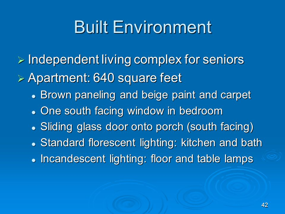 Built Environment Independent living complex for seniors