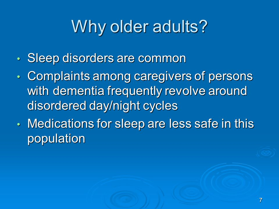 Why older adults Sleep disorders are common