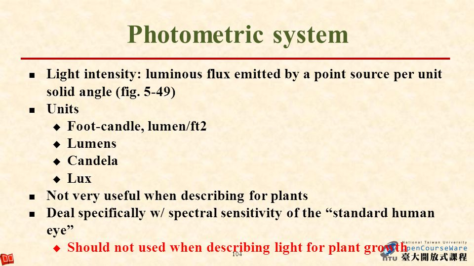 Photometric system Light intensity: luminous flux emitted by a point source per unit solid angle (fig. 5-49)