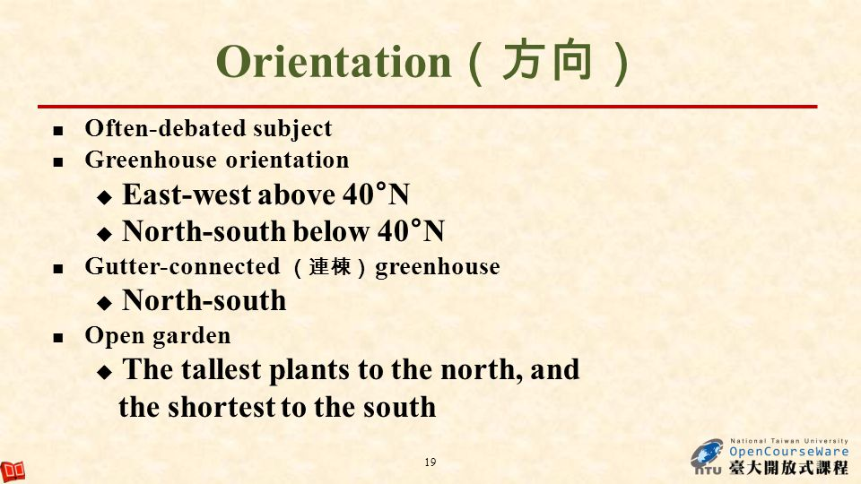Orientation(方向) East-west above 40°N North-south below 40°N
