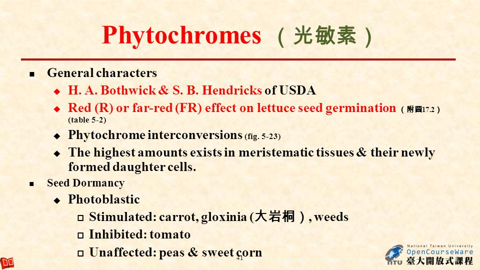 Phytochromes (光敏素) General characters