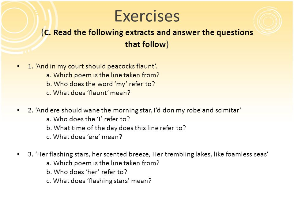 Exercises (C. Read the following extracts and answer the questions that follow)