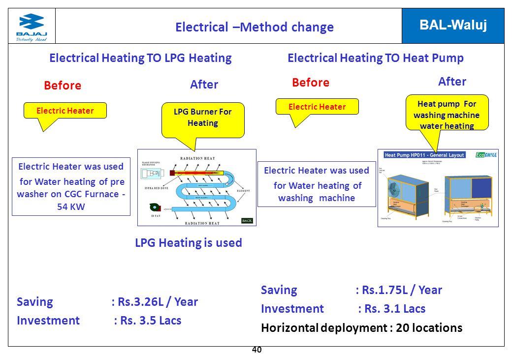 Electrical –Method change