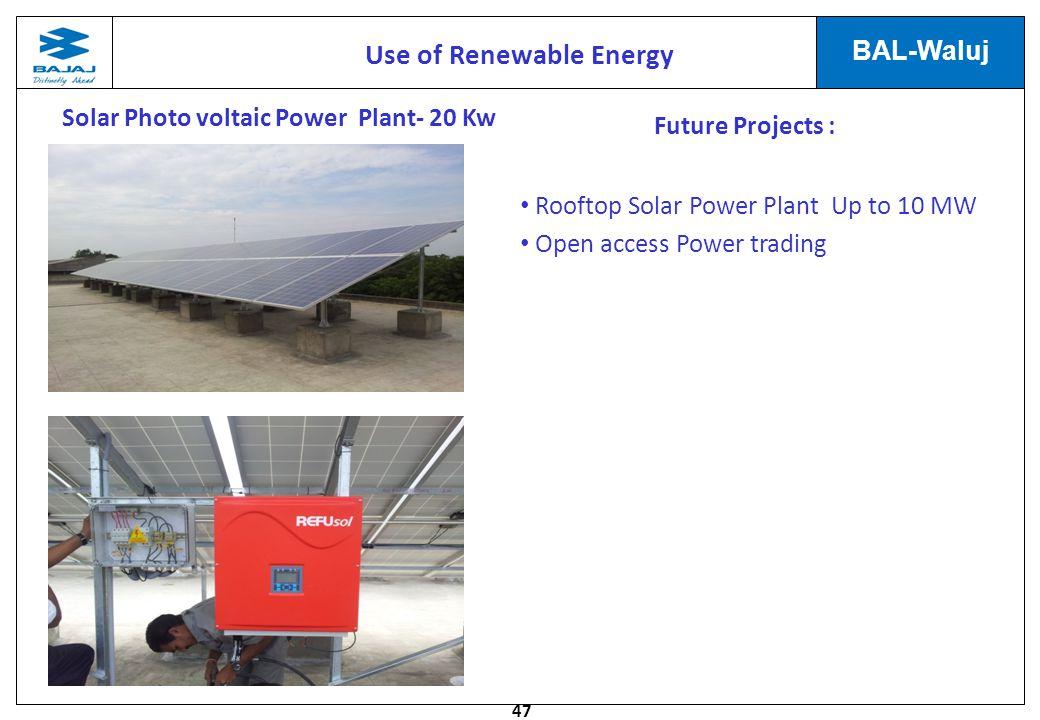 Use of Renewable Energy Solar Photo voltaic Power Plant- 20 Kw