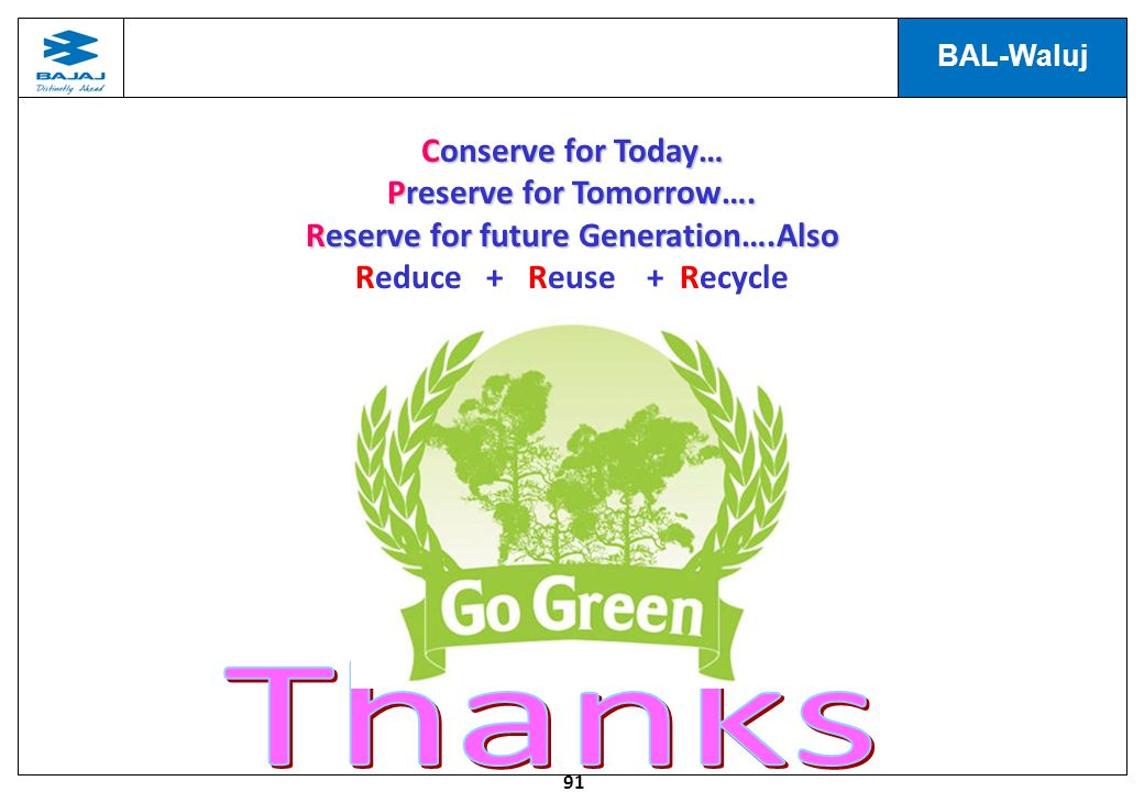Thanks Conserve for Today… Preserve for Tomorrow….