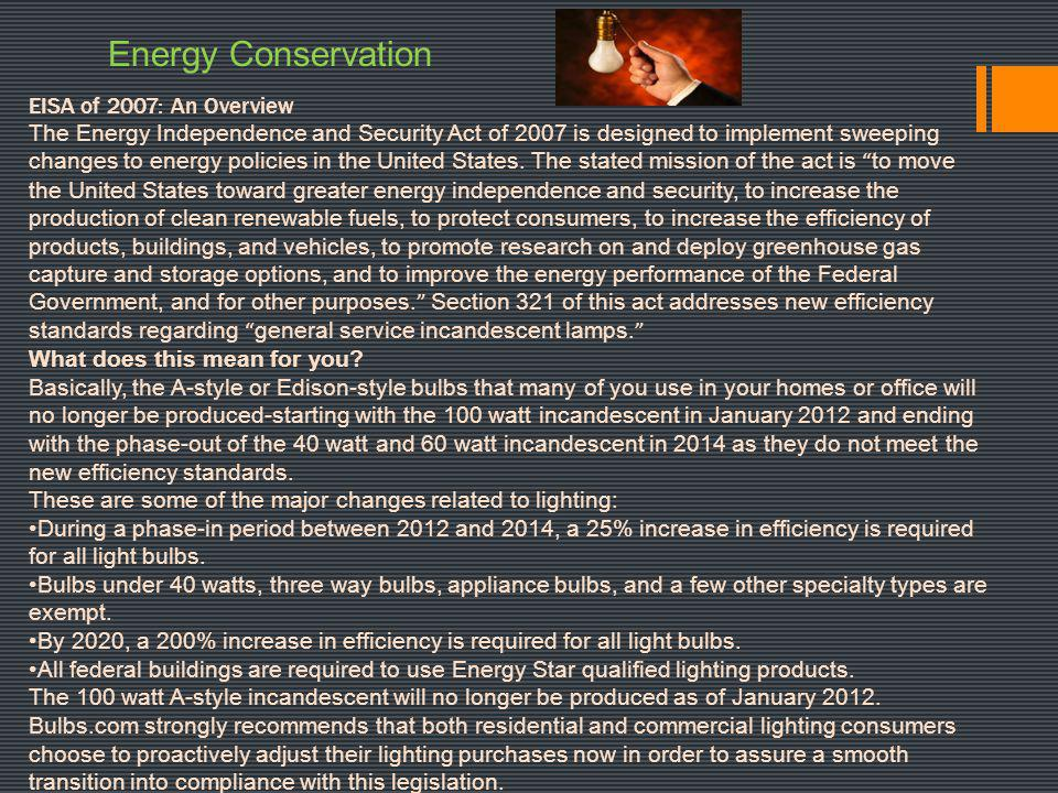 Energy Conservation EISA of 2007: An Overview