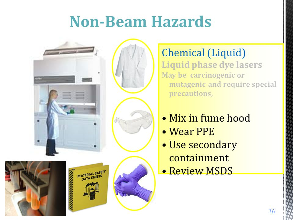 Non-Beam Hazards Chemical (Liquid) Mix in fume hood Wear PPE