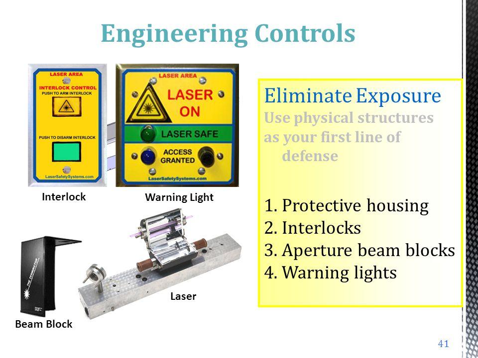 Engineering Controls Eliminate Exposure Protective housing Interlocks