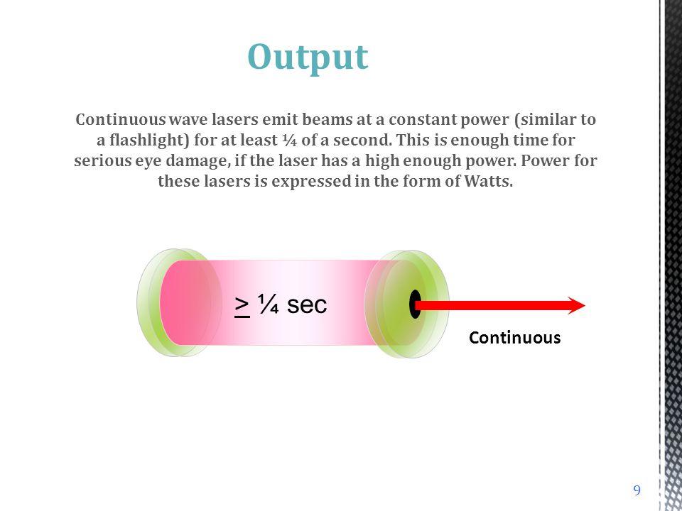 Output > ¼ sec Continuous