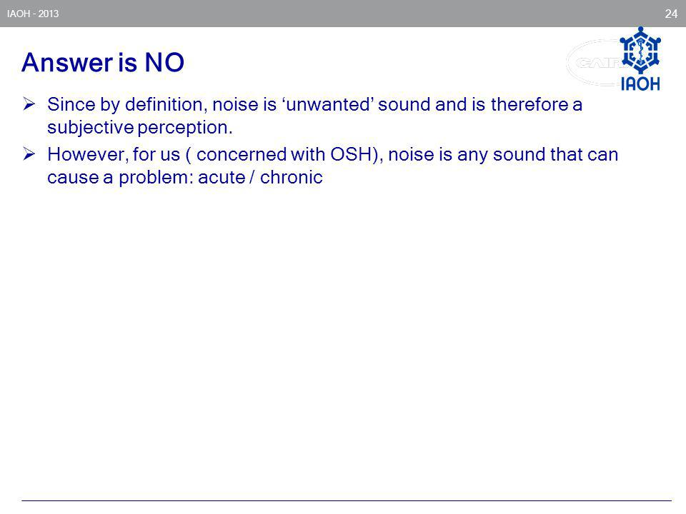 Answer is NO Since by definition, noise is 'unwanted' sound and is therefore a subjective perception.