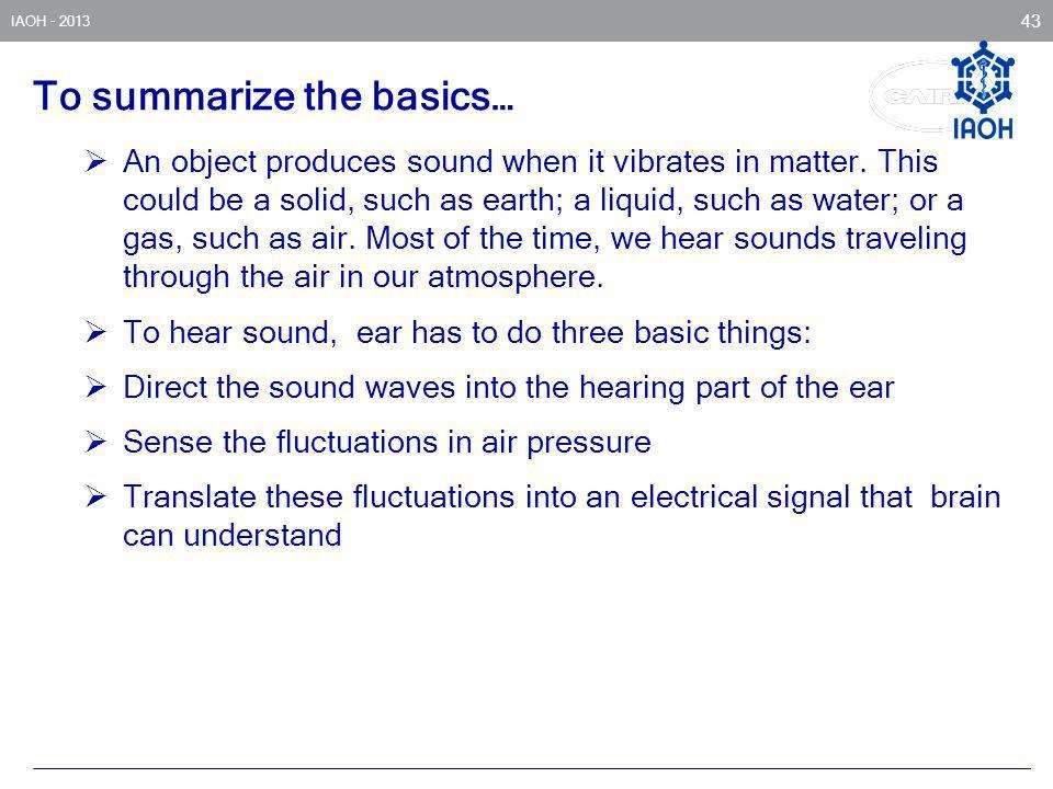 To summarize the basics…