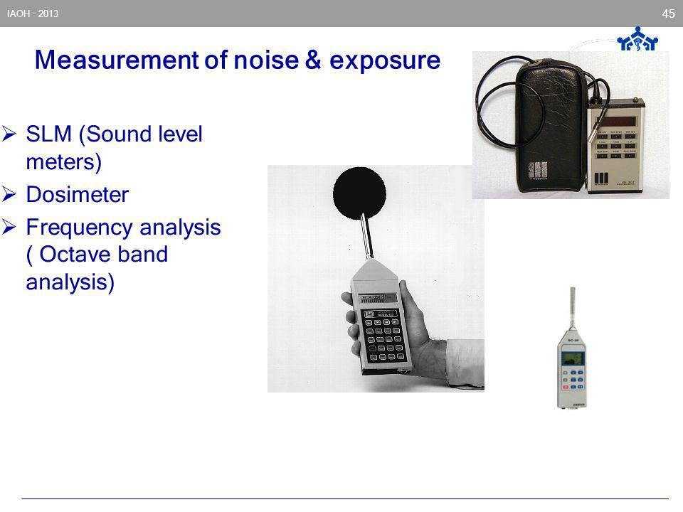 Measurement of noise & exposure