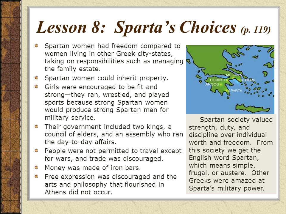 Lesson 8: Sparta's Choices (p. 119)