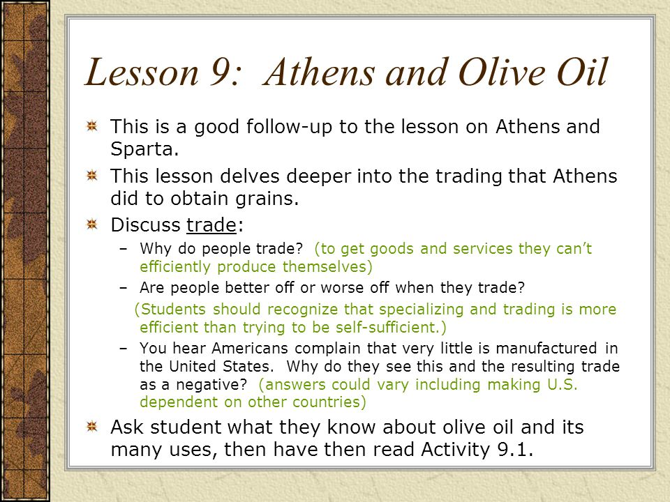 Lesson 9: Athens and Olive Oil