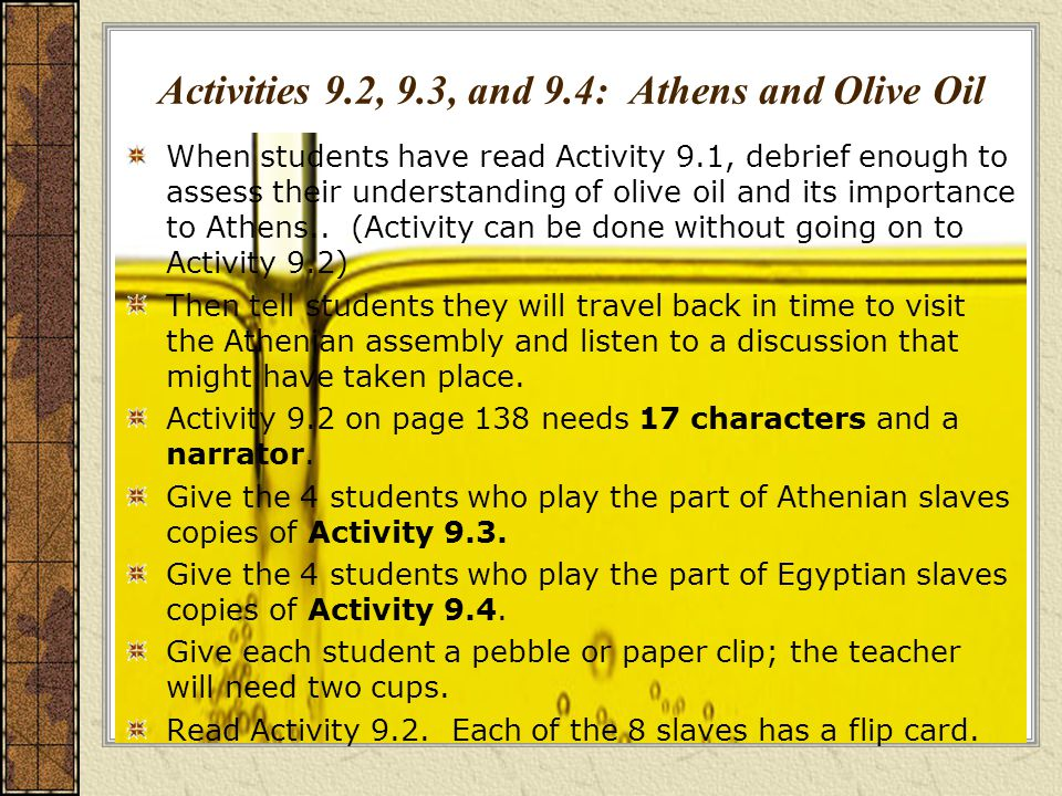 Activities 9.2, 9.3, and 9.4: Athens and Olive Oil