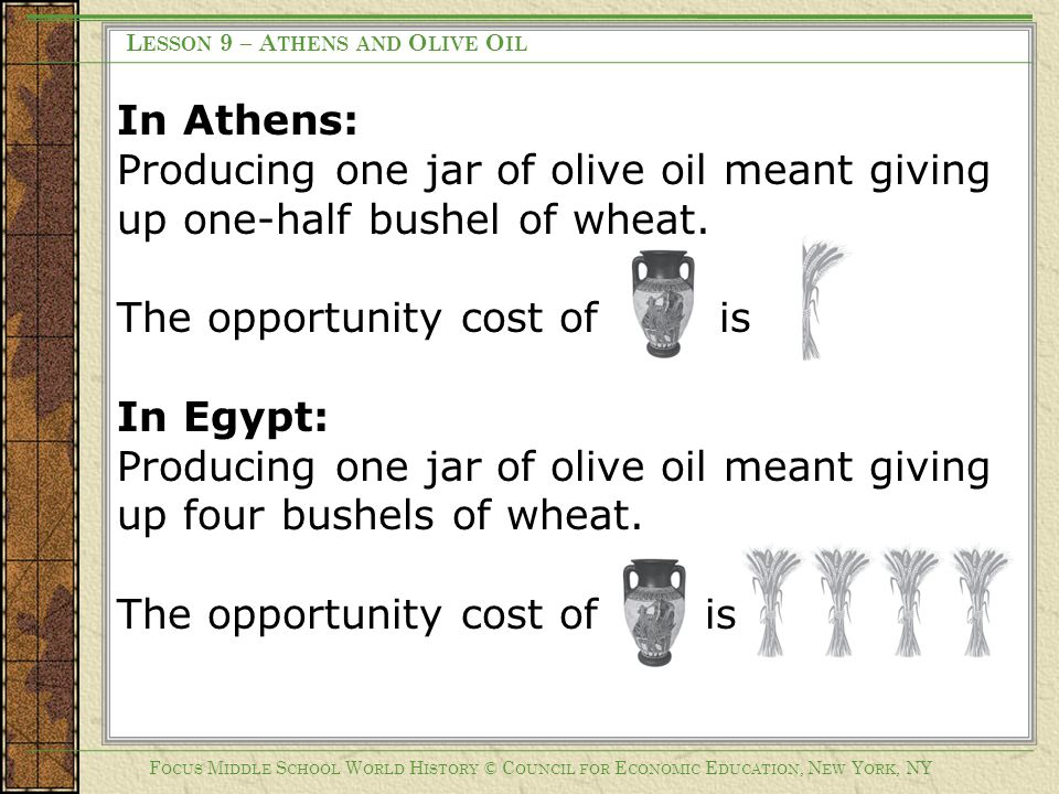 The opportunity cost of is In Egypt: