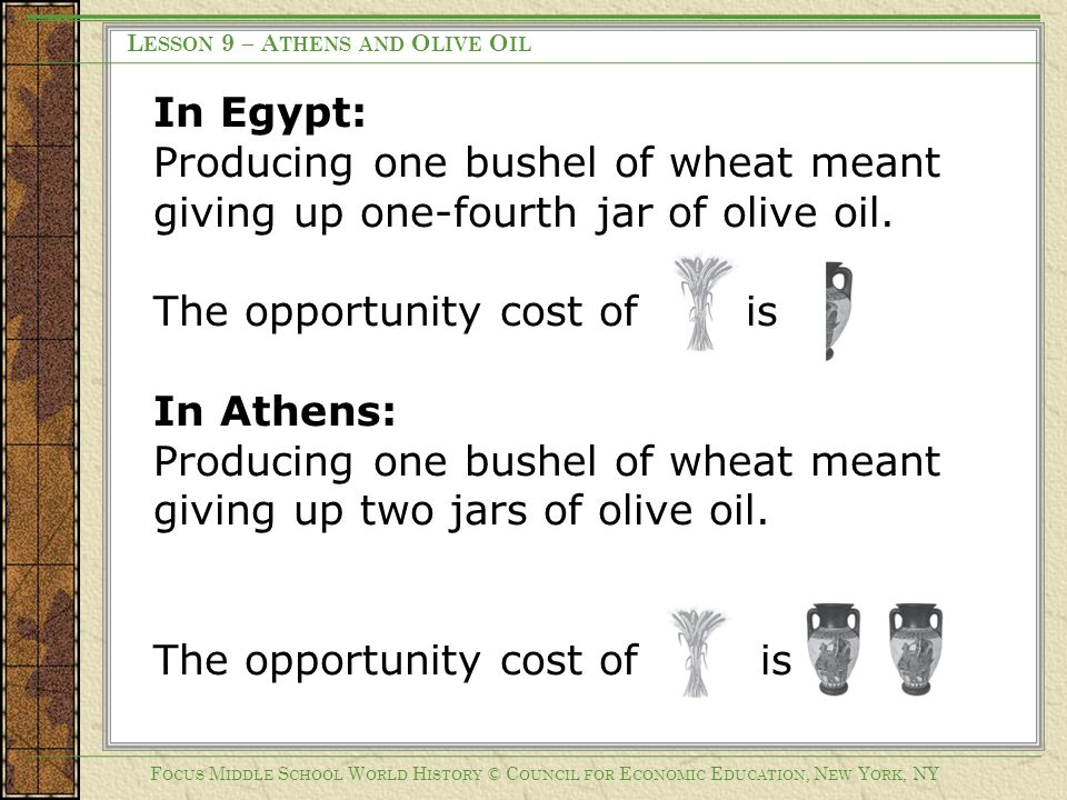 The opportunity cost of is In Athens: