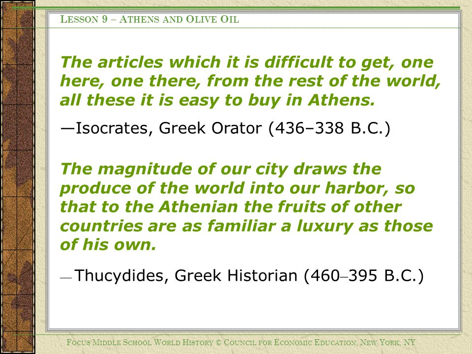 Lesson 9 – Athens and Olive Oil