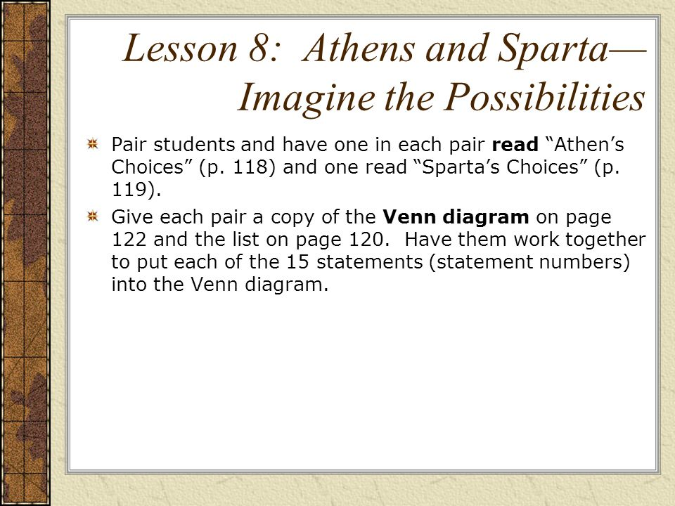 Lesson 8: Athens and Sparta— Imagine the Possibilities