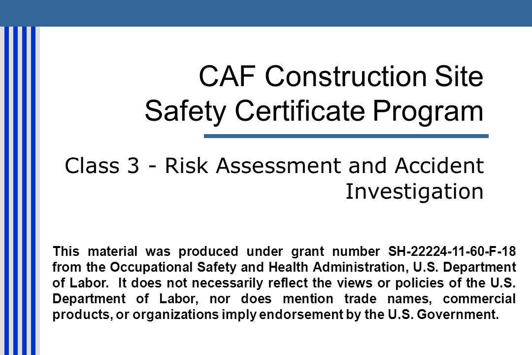CAF Construction Site Safety Certificate Program