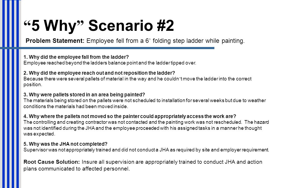 5 Why Scenario #2 Problem Statement: Employee fell from a 6' folding step ladder while painting.