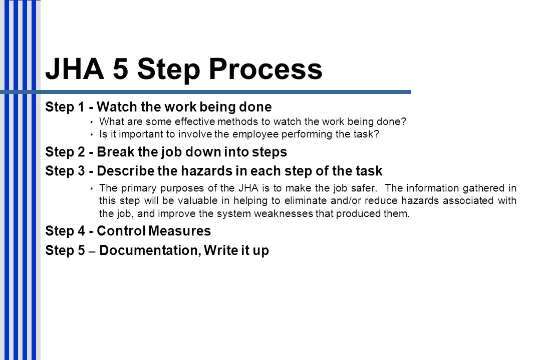 JHA 5 Step Process Step 1 - Watch the work being done
