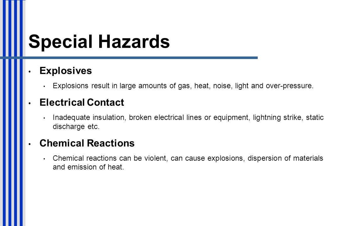 Special Hazards Explosives Electrical Contact Chemical Reactions