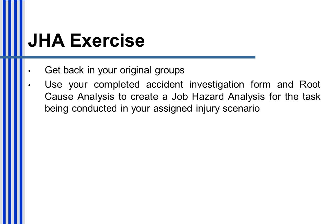 JHA Exercise Get back in your original groups