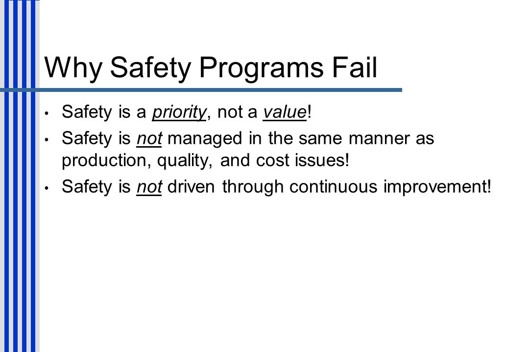 Why Safety Programs Fail