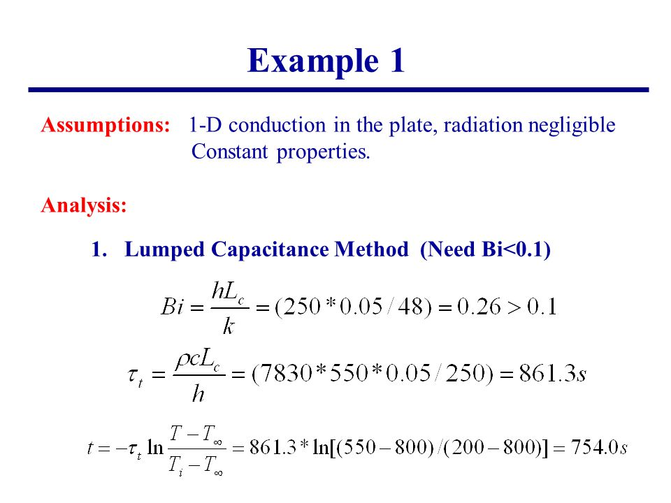 Example 1 Assumptions: 1-D conduction in the plate, radiation negligible. Constant properties. Analysis: