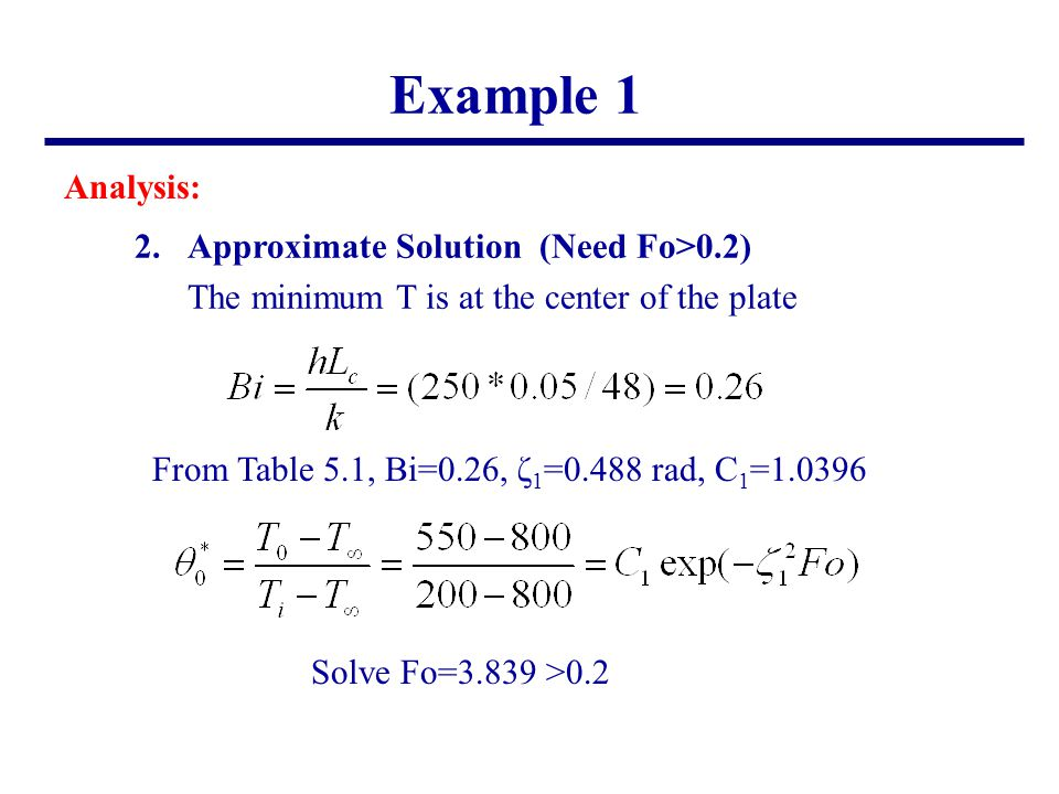 Example 1 Analysis: 2. Approximate Solution (Need Fo>0.2)