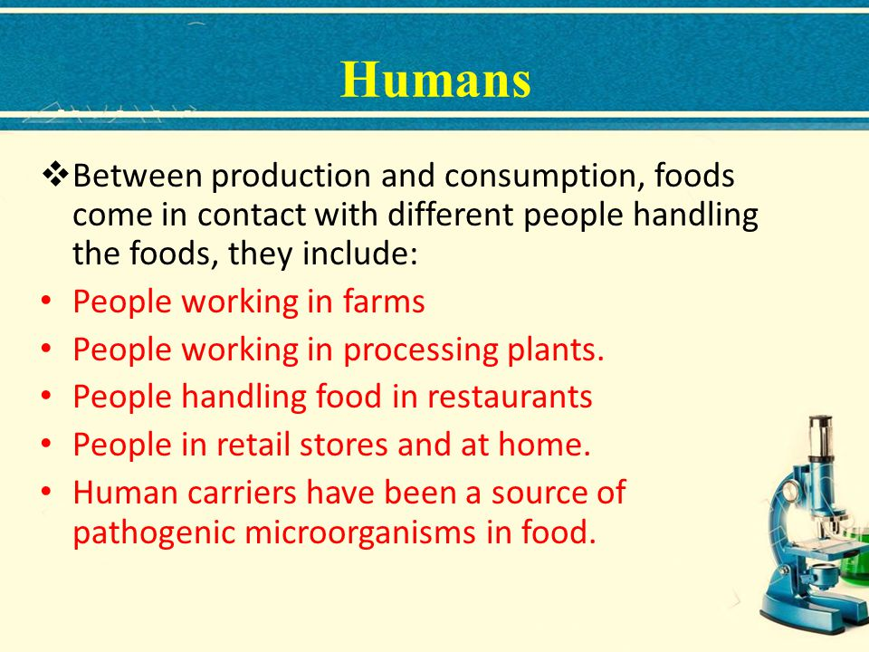 Humans Between production and consumption, foods come in contact with different people handling the foods, they include: