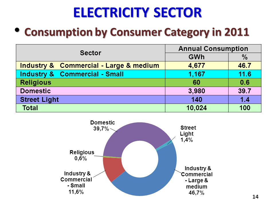 ELECTRICITY SECTOR Consumption by Consumer Category in 2011 Sector