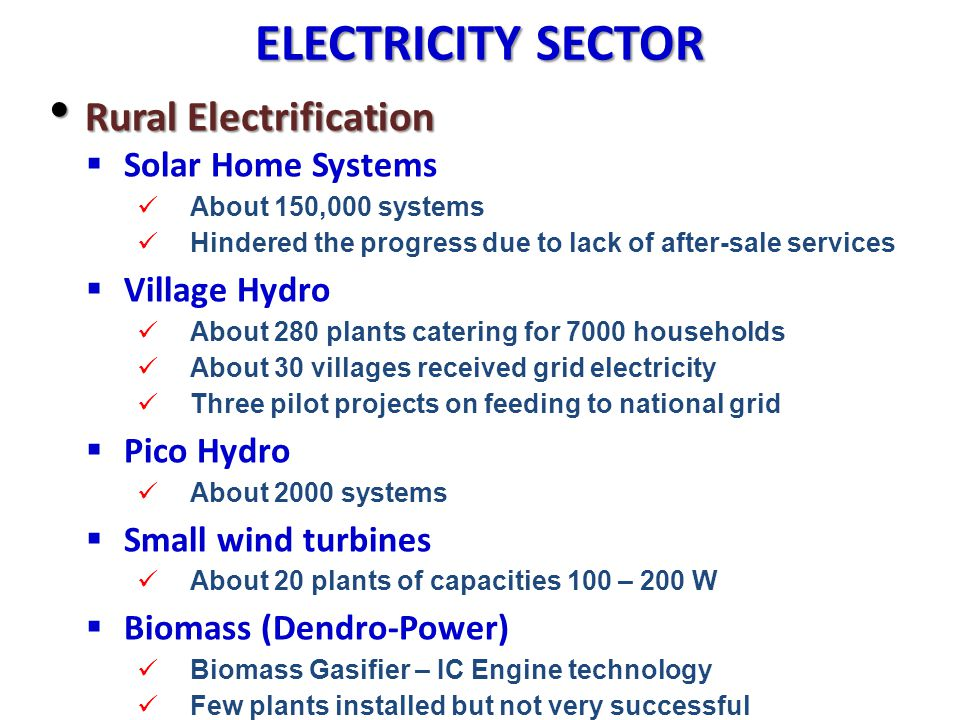 ELECTRICITY SECTOR Rural Electrification Solar Home Systems
