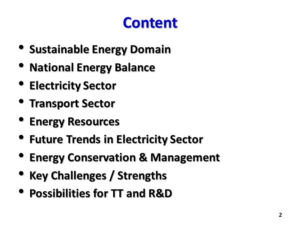 Content Sustainable Energy Domain National Energy Balance