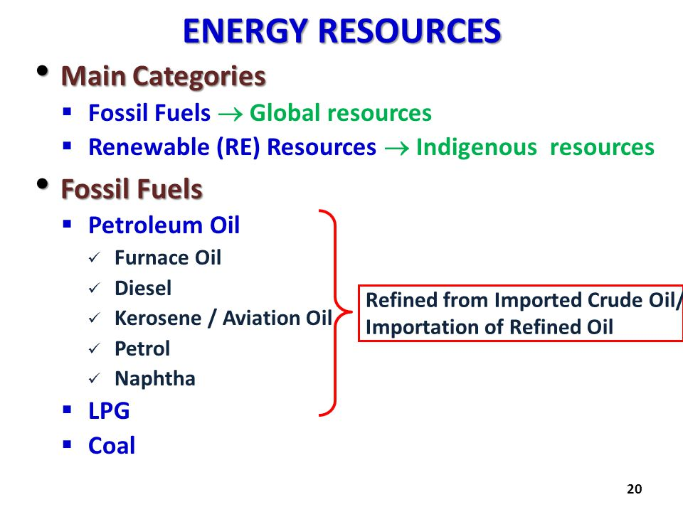 ENERGY RESOURCES Main Categories Fossil Fuels