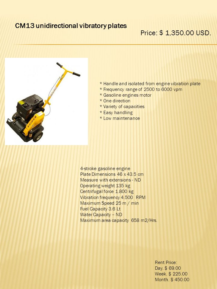 CM13 unidirectional vibratory plates Price: $ 1,350.00 USD.