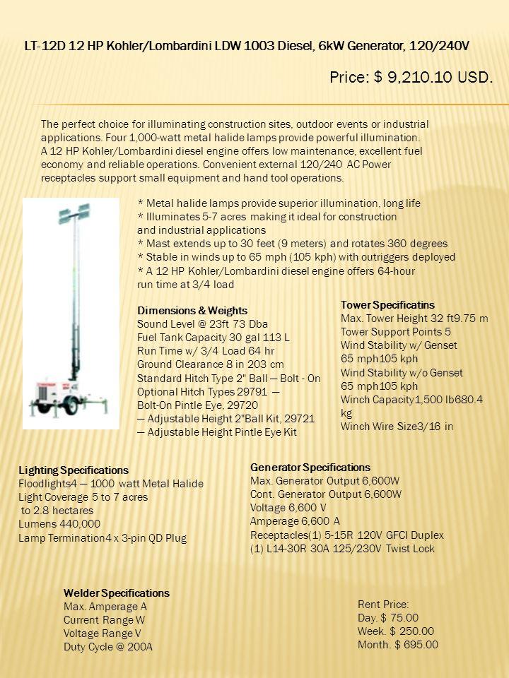 LT-12D 12 HP Kohler/Lombardini LDW 1003 Diesel, 6kW Generator, 120/240V