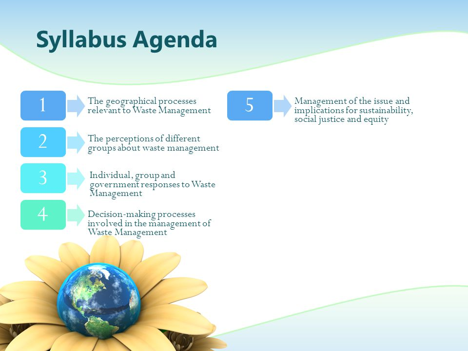 Syllabus Agenda The geographical processes relevant to Waste Management.
