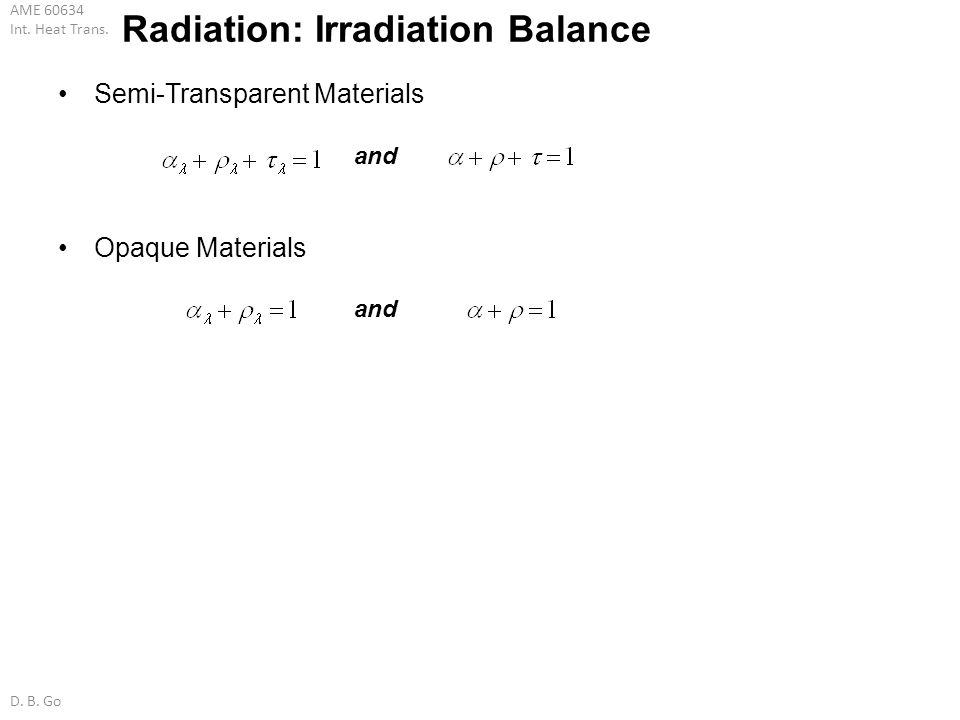Radiation: Irradiation Balance