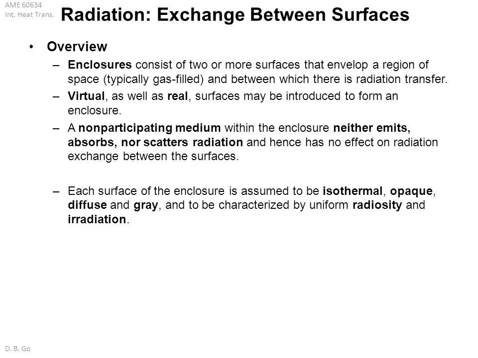 Radiation: Exchange Between Surfaces