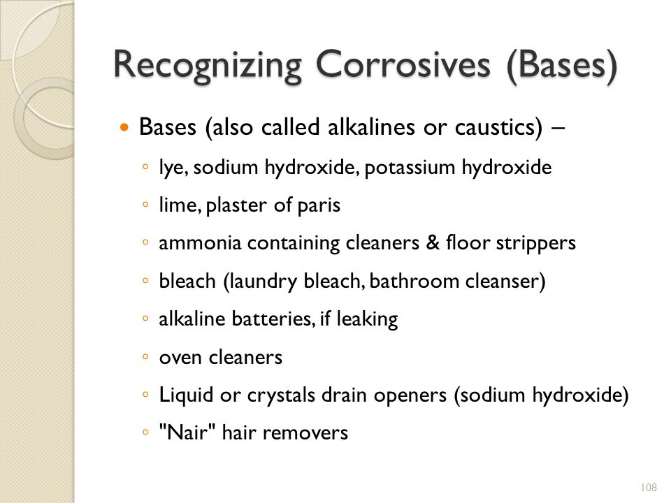 Recognizing Corrosives (Bases)