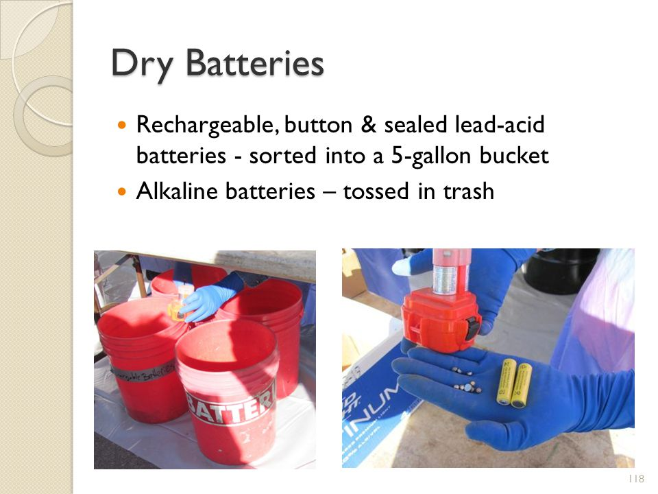 Dry Batteries Rechargeable, button & sealed lead-acid batteries - sorted into a 5-gallon bucket.