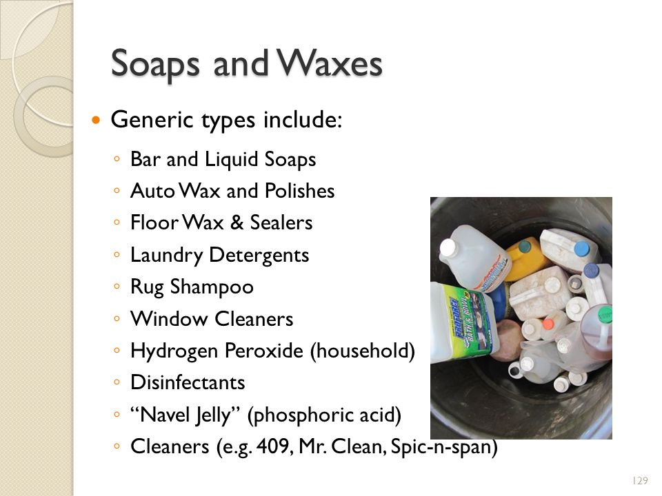 Soaps and Waxes Generic types include: Bar and Liquid Soaps