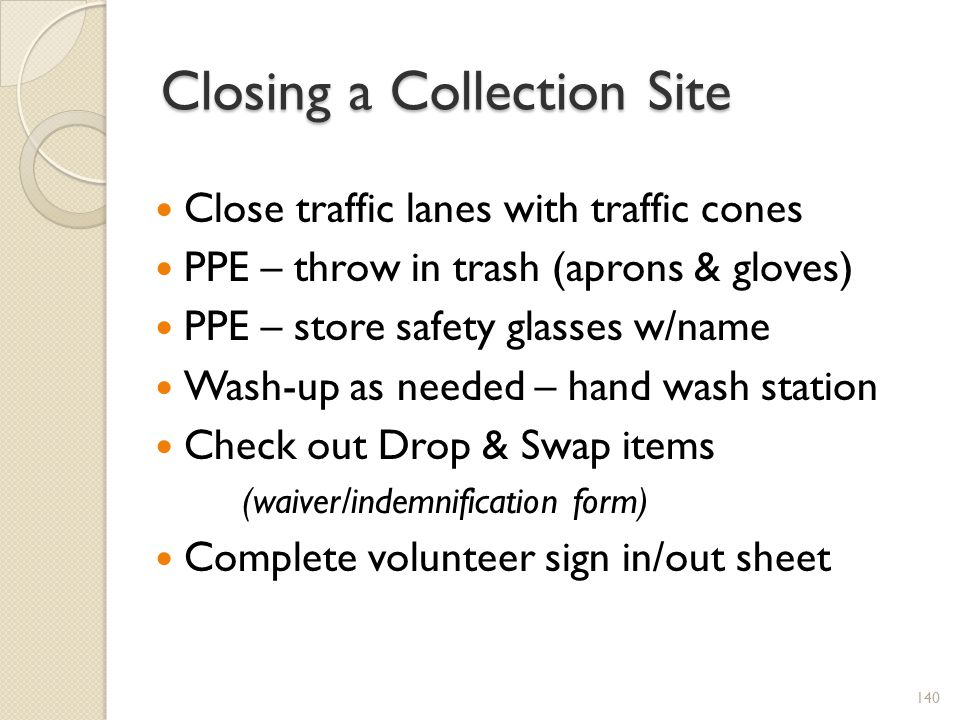 Closing a Collection Site